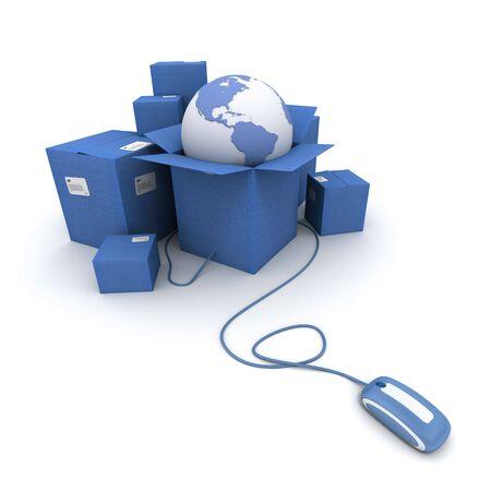 embarque: Representaci�n 3D de un mont�n de cajas de cart�n de color azul con un mapa del mundo conectado a un rat�n de ordenador Foto de archivo