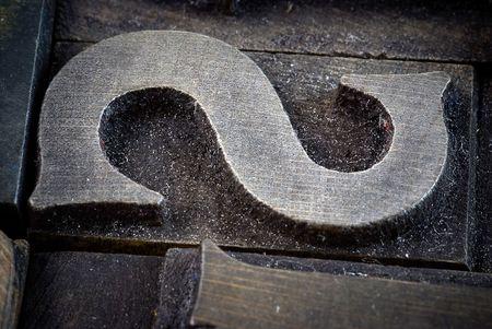 letter case: Close up shot on an S print letter case