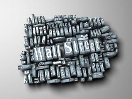 western script: The words Wall Street written in print letter cases Stock Photo