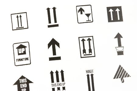Different arrow signs used in packages for transportation photo
