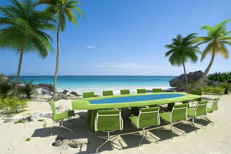 commercial event: 3D rendering of a meeting room in a beautiful tropical beach Stock Photo