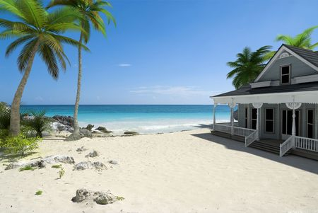 summer house: 3D rendering of a white colonial house right on the beach
