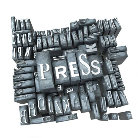 printing press: Word press in print letter cases