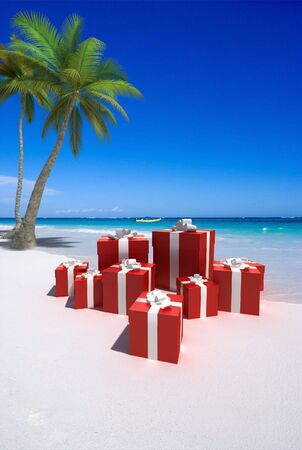 3D rendering of an arrangement of gift boxes on a tropical beach