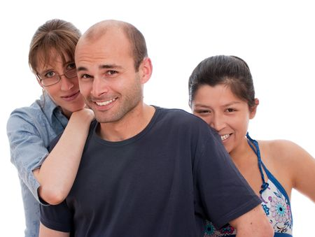 Two women and a man against a white background Stock Photo - 5474494