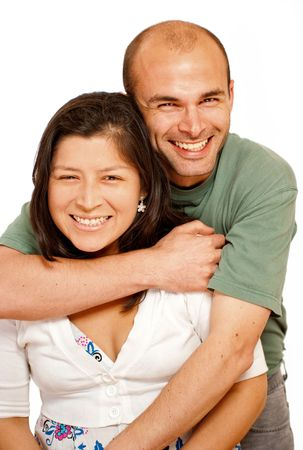 Smiling Young couple against a white background Stock Photo - 5474495