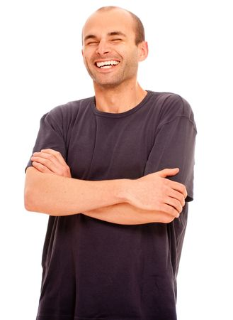 Portrait of a laughing young man against a white background Stock Photo - 5474481