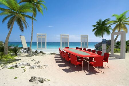 perks: 3D rendering of a meeting room in a beautiful tropical beach Stock Photo