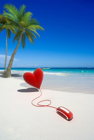 3D rendering of a red heart connected to a computer mouse on a tropical beach photo