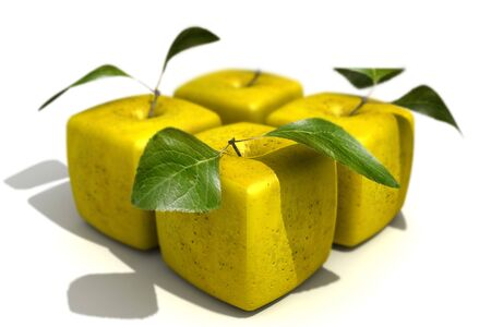 Pack of four cubic apples