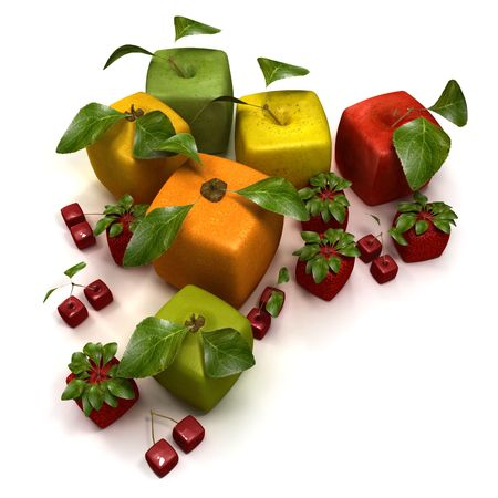 3D rendering of a selection of cubic fruits Stock Photo - 5527974