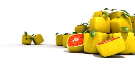 manipulated   alter: Piles of cubic grapefruit on a white background Stock Photo