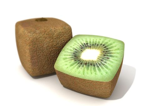 transgenic: 3D rendering of a cubic kiwi and a half Stock Photo