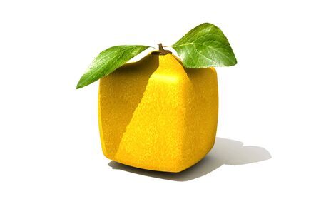 manipulated : alter: 3D rendering of a cubic lemon on a white background Stock Photo