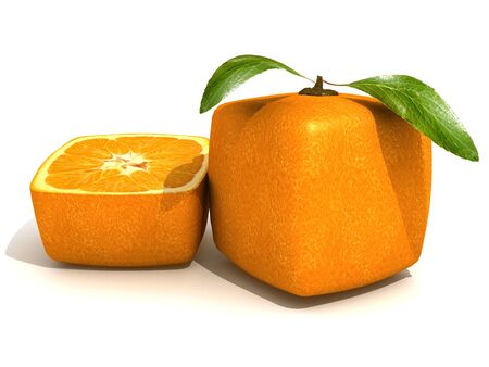 unnatural: 3D rendering of a cubic orange fruit and a half Stock Photo