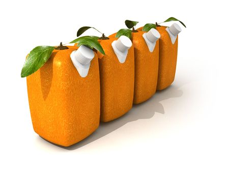 estrange: 3D rendering of four Cubic oranges with a juice dispenser