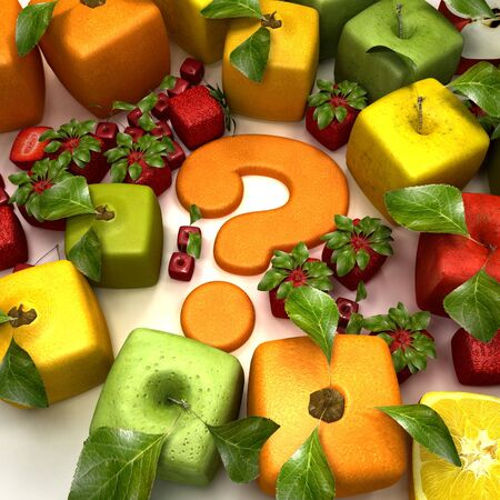 estrange: 3D rendering of a selection of cubic fruits surrounding a question mark