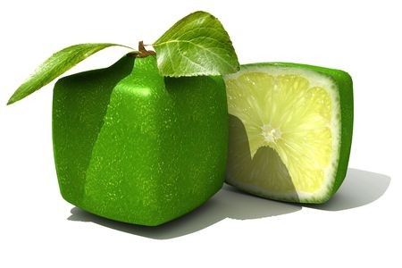 produce sections: 3D rendering of a cubic lime and a half