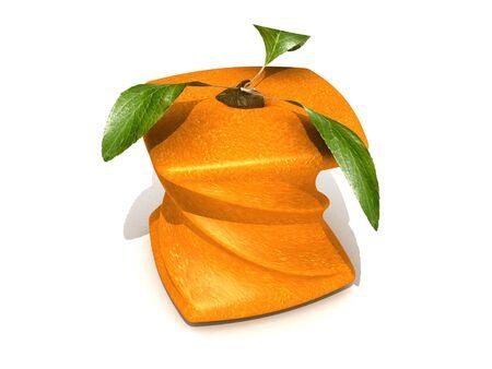 singular: 3D rendering of a twisted cubic orange