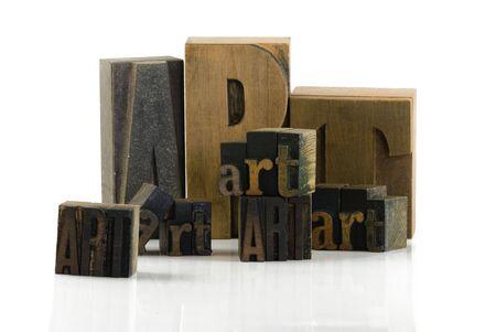 word art: Letras de madera m�quina forman la palabra arte