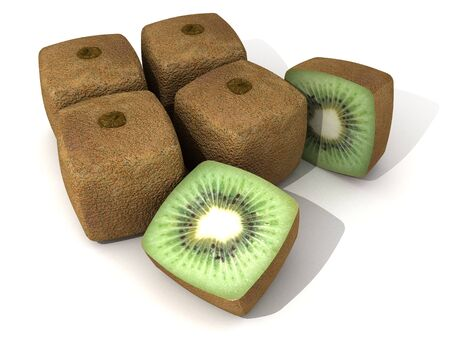 transgenic: 3D rendering of a group of cubic kiwis