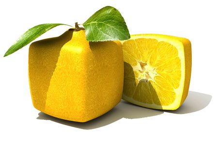 manipulated   alter: 3D rendering of a cubic lemon and a half