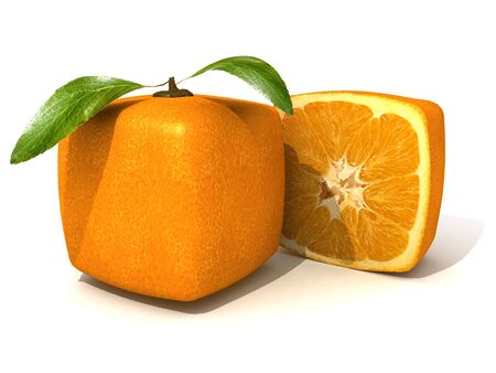 manipulated   alter: 3D rendering of a cubic orange fruit and a half Stock Photo