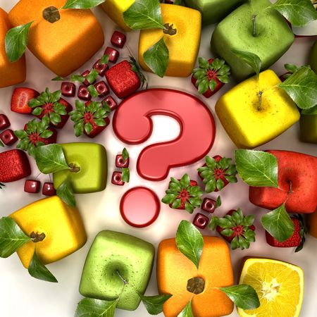 3D rendering of a selection of cubic fruits surrounding a question mark Stock Photo - 5546966