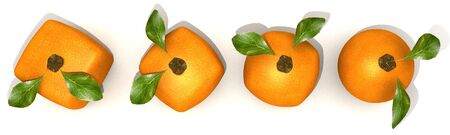 manipulated   alter: Line of oranges in different shapes, from cubic to a normal round one Stock Photo