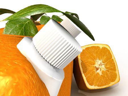 estrange: 3D rendering of Cubic oranges with a juice dispenser