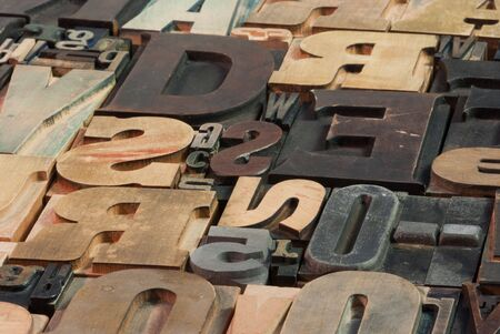 lithograph: Background of vintage wooden print letter cases