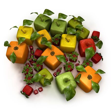 unnatural: 3D rendering of a selection of cubic fruits Stock Photo