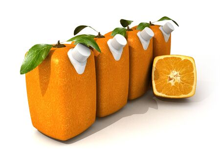 unnatural: 3D rendering of four Cubic oranges with a juice dispenser