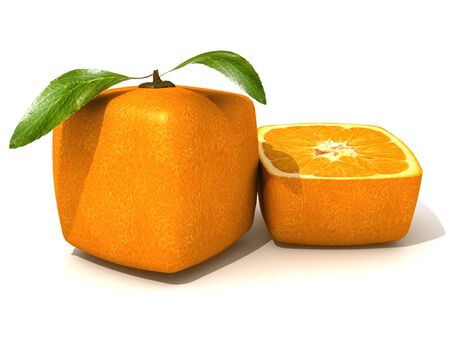 outgrowth: 3D rendering of a cubic orange fruit and a half Stock Photo
