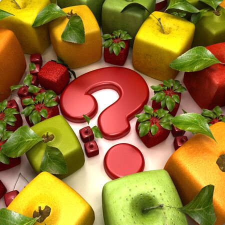 apple gmo: 3D rendering of a selection of cubic fruits surrounding a question mark
