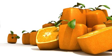 genetically modified crops: composition with Piles of cubic oranges