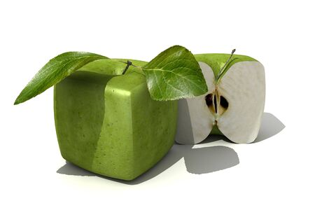 unnatural: 3D rendering of a cubic apple fruit and a half