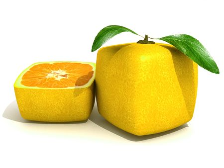 outgrowth: 3D rendering of a cubic lemon and a half