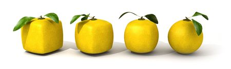 singular: Line of lemons in different shapes, from cubic to a normal round one