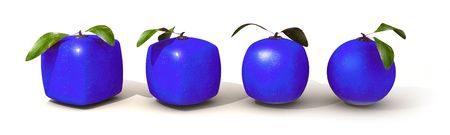 Line of blue citric fruit in different shapes, from cubic to a normal round one Stock Photo - 5594355