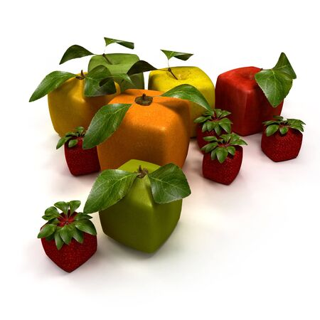 3D rendering of a selection of cubic fruits Stock Photo - 5594346