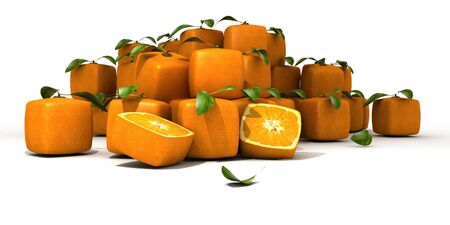 estrange: Composition of cubic oranges on a white background Stock Photo