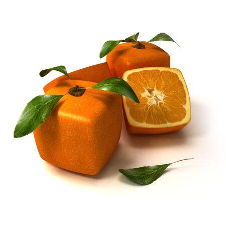 Samenstelling van kubieke sinaasappels op een witte achtergrond