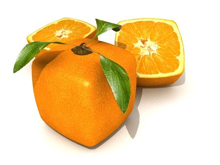 manipulated   alter: Orange fruit with a cubic shape on a neutral background