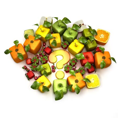 manipulated   alter: 3D rendering of a selection of cubic fruits surrounding a question mark
