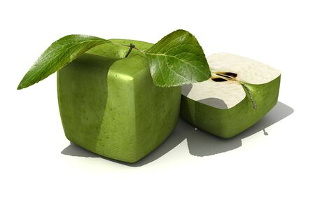 outgrowth: 3D rendering of a cubic apple fruit and a half