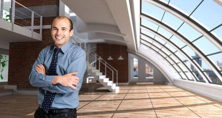 cor: Shot of a happy man in a modern luxurios loft Stock Photo