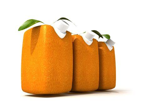 estrange: 3D rendering of three Cubic oranges with a juice dispenser