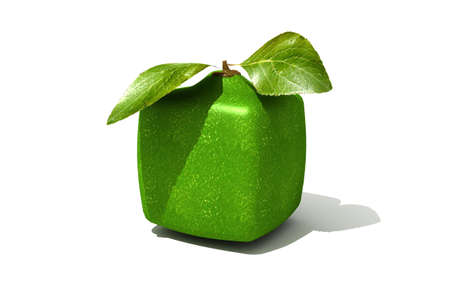 outgrowth: 3D rendering of a cubic lime on a white background