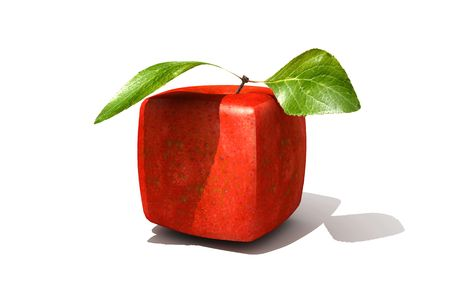 apple gmo: 3D rendering of a cubic red apple